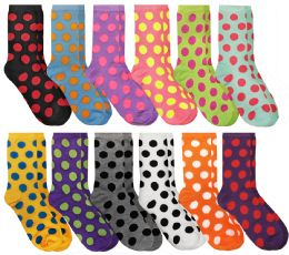 60 of Yacht & Smith Neon Polka Dot Print Cotton Crew Socks For Woman, Size 9-11
