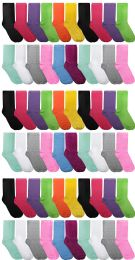 60 of Yacht & Smith Assorted Neon Cotton Crew Socks For Woman, Size 9-11