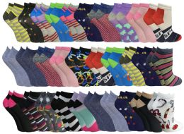 60 of 60 Pairs Womens Colorful Thin Lightweight Low Cut Ankle Socks, Patterned Assorted Size 9-11
