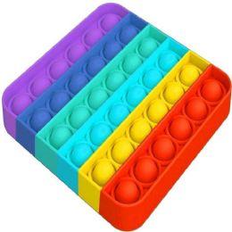 "24 of Push Pop Fidget Toy [rainbow Square] 5""x5"""