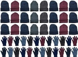 48 of Yacht & Smith Mens Warm Winter Hats And Glove Set Assorted Colors 48 Pieces