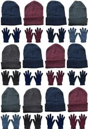 24 of Yacht & Smith Mens Warm Winter Hats And Glove Set Assorted Colors 24 Pieces