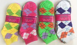 144 of Short Grid Women Socks In Assorted Colors