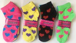 144 of Women Socks Heart Pattern In Assorted Colors