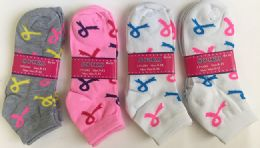 144 of Women Socks Breast Cancer Awareness In Assorted Colors
