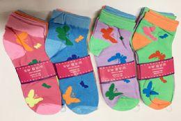 144 of Women Socks Butterfly Pattern In Assorted Colors