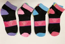 144 of Women Short Solid Socks In Assorted Colors Size 9-11