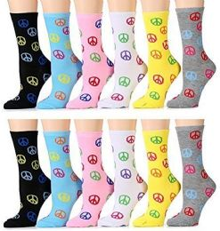 12 of Yacht & Smith Womens Cotton Crew Sock, Colorful Fun Peace Sign Print Size 9-11