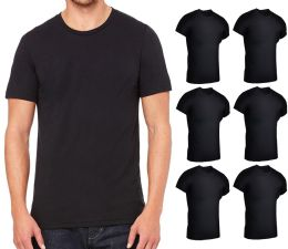 6 of Mens Lightweight Cotton Crew Neck Short Sleeve T-Shirts Black, Size Small
