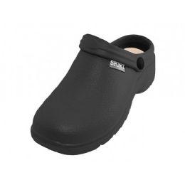 24 of Men's Sport Close Toe Rubber Nursing Clogs Black