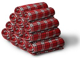 12 of Yacht & Smith 50x60 Fleece Blanket, Soft Warm Compact Travel Blanket, RED PLAID