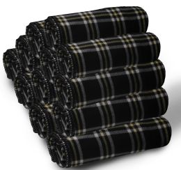 24 of Yacht & Smith 50x60 Fleece Blanket, Soft Warm Compact Travel Blanket, BLACK PLAID