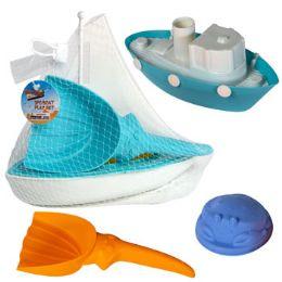 18 of Boat Playset 3pc W/beach Tools 2asst Tug Or Sail Mesh Bag W/ht