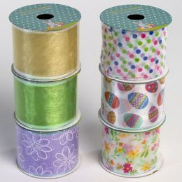 48 of Ribbon Wire Easter/spring 6ast 2.5in X 3yd 24pc Pdq