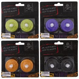 48 of Tealight Led 2pk Glitter 4ast Halloween Colors 1.5in/blc