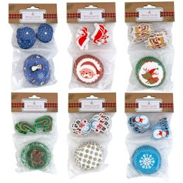 24 of Baking Cup Kit Christmas 6ast 24-2in Cups W/24 Plastic Picks