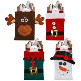 48 of Cutlery Holder Christmas Felt 4ast Santa/elf Belt Snowman/deer