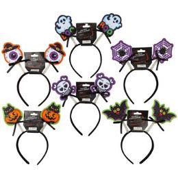 48 of Headband Headbopper Halloween 6ast Icon W/bow & Glitter