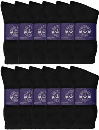 24 of Yacht & Smith Mens Cotton Black Crew Socks, Sock Size 10-13