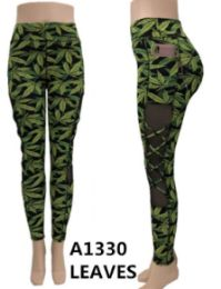 24 of Green Marijuana Leaf Leggings Mesh Side With Pocket