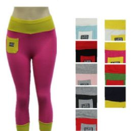 48 of Ladies High Waist Two Tone Capri Length Leggings