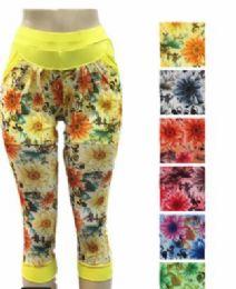 48 of Women Leggings Capri Length Flower Print