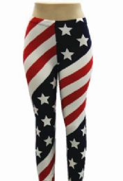 48 of Women Full Length American Flag Leggings