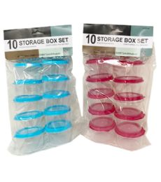 72 of Plastic Storage Box 10 Piece Round Set