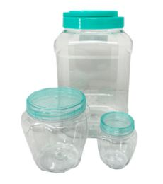 36 of 3 Piece Square Plastic Jar