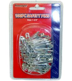 96 of 100 Piece Safety Pins In Double Clam Shell