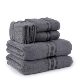 6 of Six Pieces Towel Set Grey Ring Spun Cotton
