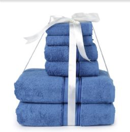 6 of Six Pieces Towel Set Blue Ring Spun Cotton