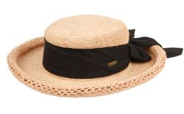 12 of RAFFIA STRAW ROLLED EDGE FLOPPY HATS WITH RIBBON BAND IN ASSORTED COLORS