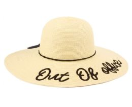 """12 of """"OUT OF OFFICE"""" BRAID PAPER STRAW FLOPPY HATS WITH BAND"""