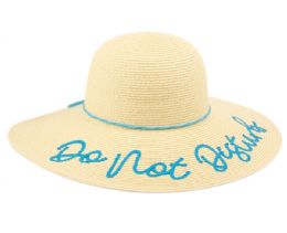 """12 of """"DO NOT DISTURB"""" BRAID PAPER STRAW FLOPPY HATS WITH BAND"""