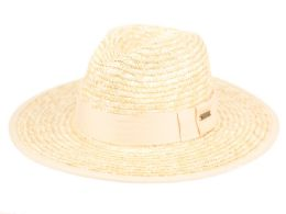 12 of STRAW PANAMA HATS WITH GROSGRAIN BAND