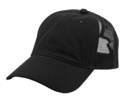 12 of PONYTAIL WASHED COTTON TRUCKER CAP IN BLACK