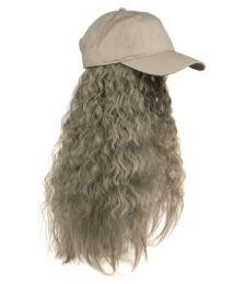 12 of COTTON BASEBALL CAP W/WAVY CHIC WIG W/HAIR NET IN GRAY