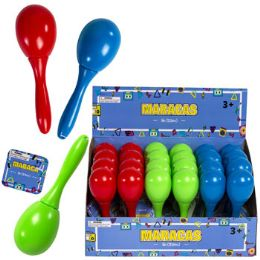 24 of Maraca 5in 3 Asst Colors Red/lt Blue/green 24pc Pdq ht