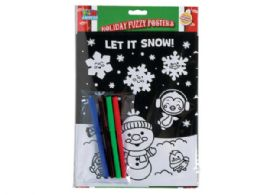 72 of Fuzzy Holiday Poster Set With 4 Markers