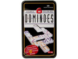 12 of DoublE-Six Color Dot Dominoes Game Set