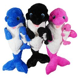 "12 of 21"" Plush Orca Whale With Baby"
