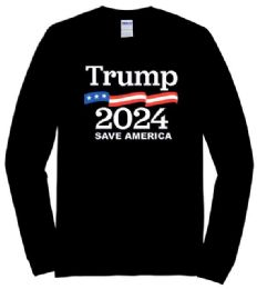 12 of Trump2024 Save America Black color Long Sleeve T shirt PLUS size