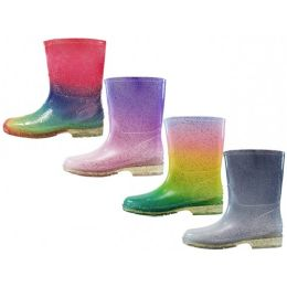 24 of Children's Water Proof Soft Plain Rubber Rain Boots Assorted Glitter