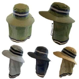 36 of Cotton Mesh Reflective Boonie Hat with Mesh Neck Flap [Solid]