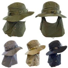 24 of Cotton Soft Boonie Hat with Snap-Up Neck and Face Cover [Solid]