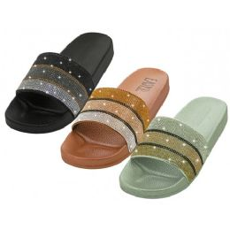 24 of Women's Rhinestone Upper Slide Sandals Assorted Color