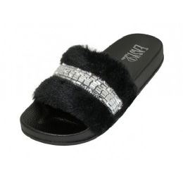 36 of Women's Faux Fur Upper With Rhinestone Top Slide Sandals Black Color Only