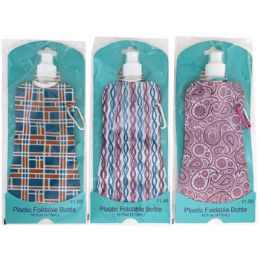 40 of Water Bottle 16oz Foldable Asst Designs Pp $1.99 Peggable