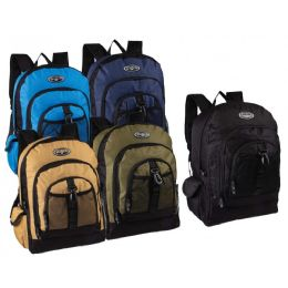 """24 of 17"""" Multi Compartment Bulk Backpacks In 5 Assorted Colors"""